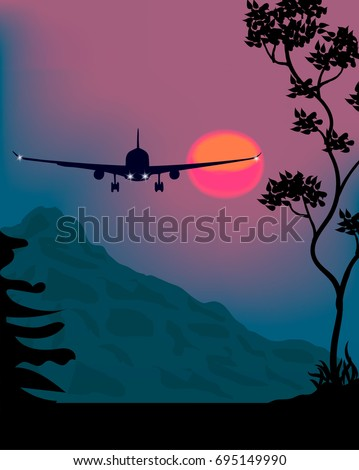 plane at night in the mountains