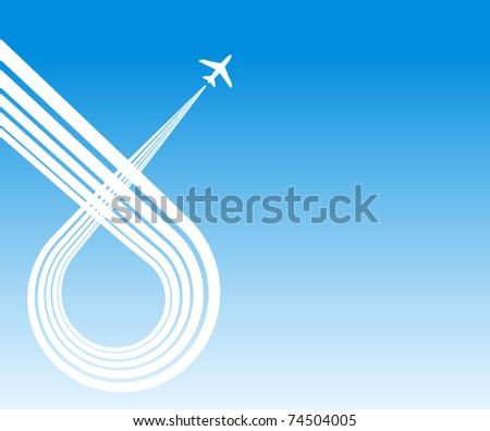 plane blue background