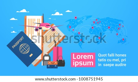 Plane, Boarding Passport And Tickets With Baggage Over World Map Background, Travel Banner With Copy Space Vector Illustration