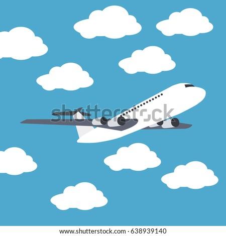 Plane clouds icon
