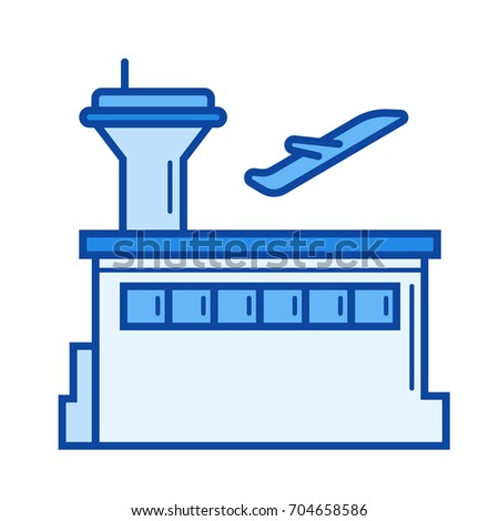 Plane departure vector line icon isolated on white background. Plane departure line icon for infographic, website or app. Blue icon designed on a grid system.