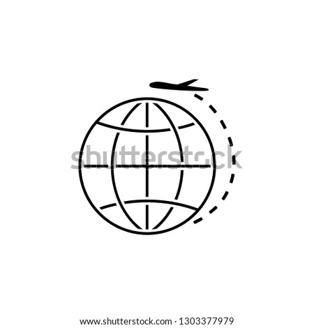 Plane, earth, navigation icon. Element of Web Navigation icon for mobile concept and web apps. Detailed Plane, earth, navigation icon can be used for web and mobile