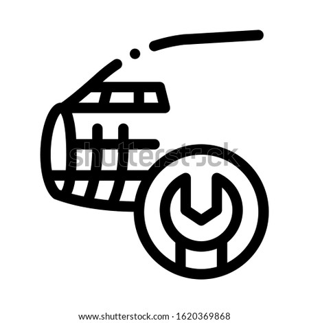 Plane Fix Wrench Icon Vector. Outline Plane Fix Wrench Sign. Isolated Contour Symbol Illustration