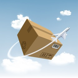 Plane flies around the cardboard box. Cargo delivery by air. Free and fast freight transportation around the world. Stock vector illustration.