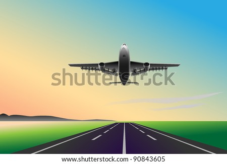 Plane flies up on sunset background with runway
