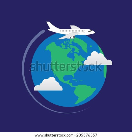 plane flying around the earth