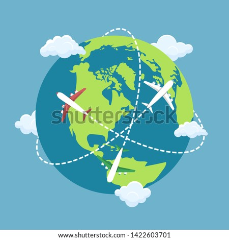 Plane flying around the world vector design illustration stock photo