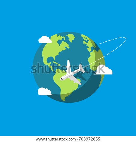 Plane flying. Earth. Vector illustration. Flat design.