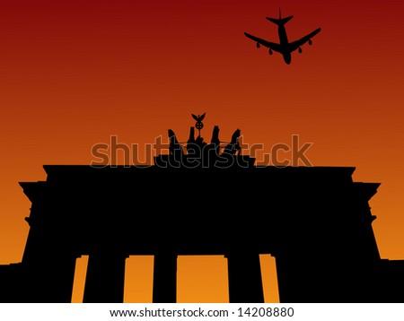 plane flying over brandenburg