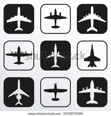 plane icon set airplane