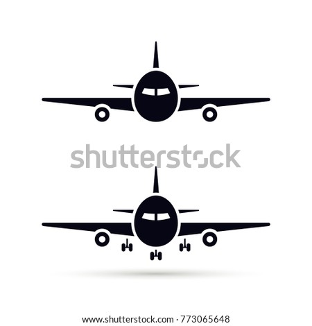 Plane Icon set in flat style, Vector airplane simple black silhouette on white background.