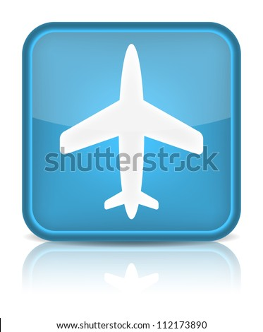 Plane icon. Sign with reflection isolated on white. Vector illustration - stock vector