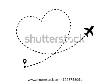 plane icon with heart shaped