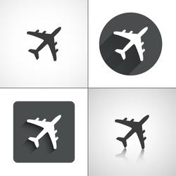 Plane icons. Set elements for design. Vector illustration.