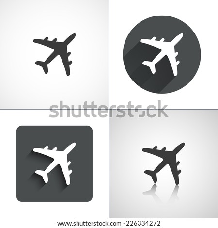 plane icons set elements for