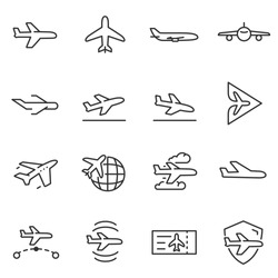 Plane icons set, passenger airplane, aircraft thin line design. Line with Editable stroke