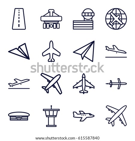 Plane icons set. set of 16 plane outline icons such as plane, runway, airport