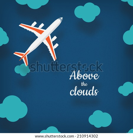 Plane illustration with a place for your text in cartoon style