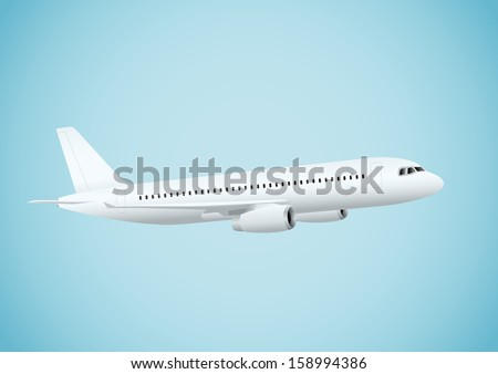 Plane in blue background