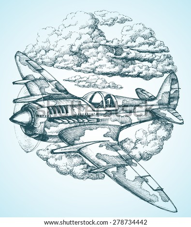 plane in the sky round icon