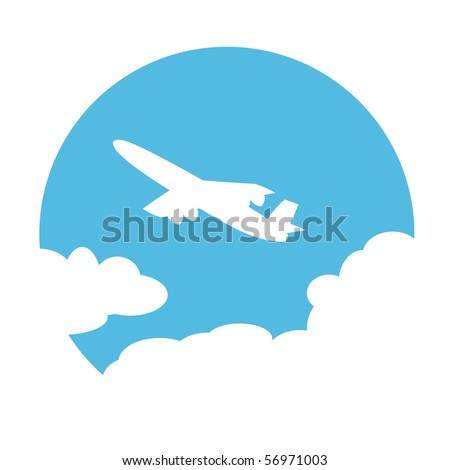 Plane in the sky. Vector illustration.