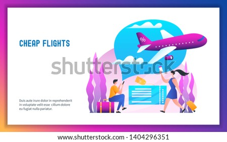 Plane is flying in the clouds. Low cost flights. Cheap flights concept. Modern vector illustration