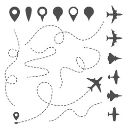 Plane line path. Airplane directional pathway, map dotted trail and fly direction. Aircrafts and pins vector symbols. Airplane moving pathway, aeroplane silhouette route illustration