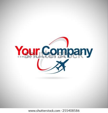 Plane Logo Design. Creative vector icon with plane and ellipse shape.