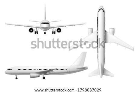 Plane or airplane, realistic aircraft or passenger aeroplane, vector 3D model isolated mockup. White blank airplane in flight, front, top and side view, airline jet with engines, civil aviation Stock photo ©
