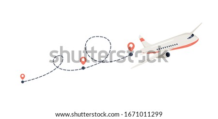 Plane path with location pins vector illustration. Path to location by plane, tourism way, route flight. Tourism, avia tickets add. Airplane way path, destination point and route planning. Navigation.