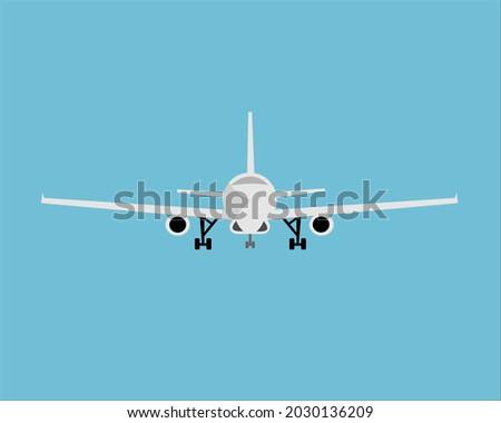 plane preparing to take off front view Photo stock ©
