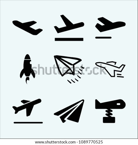Plane related set of 9 icons such as plane, departure, airport departures, departures, paper plane handmade folded shape, send, departures flights, rocket