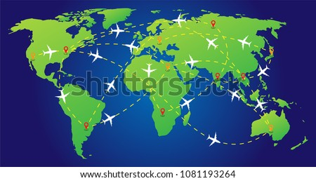 plane routes over world map