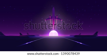 Plane taking off above the runway in airport. Airplane silhouette. Banner or flyer for travel and vacation design template. Starry night sky. Vector illustration.