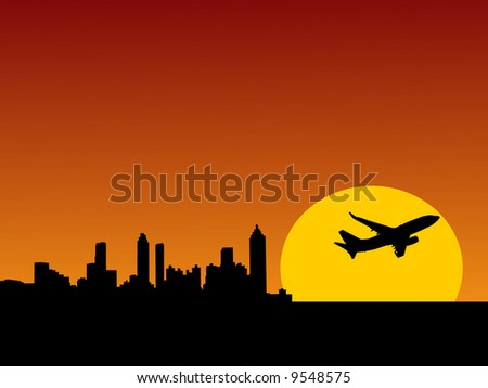plane taking off at sunrise and Atlanta skyline illustration - stock vector