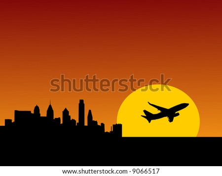 plane taking off at sunrise and Philadelphia skyline illustration