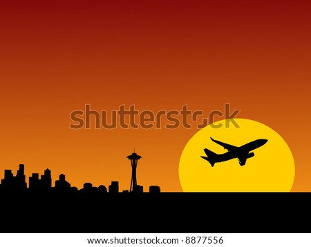 plane taking off at sunrise and Seattle skyline illustration