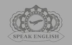 Plane taking off icon and Speak English text Grey stroke realistic emblem. Solid handsome background. Artistic illustration.