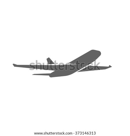Plane taking off silhouette vector illustration, black airplane take off shape, jet airliner takeoff, plane departure modern design isolated on white background