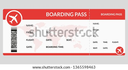 Plane ticket. Airline boarding pass template. Airport and plane pass document. Vector illustration. Stock photo ©