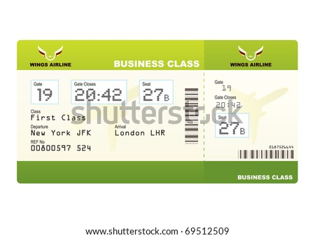 plane tickets business class green boarding pass and gate number - stock vector