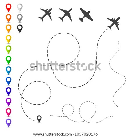 Plane trace. Set of vector elements. Concept of planning routes and direction of travels. Map pointers, silhouettes of airplanes and track lines. Air flights design.