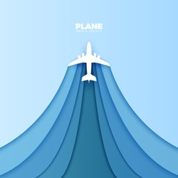 Plane Vector Paper Cut Out. Vector Travel Concept