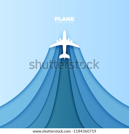 Plane Vector Paper Cut Out. Vector Travel Concept