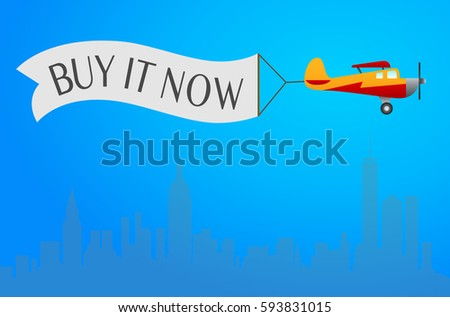 """Plane with Banner """"Buy it now"""" on the sky for online store."""
