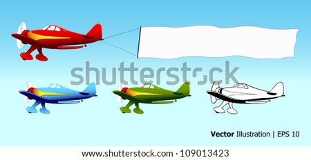 Plane with blank sky banner, aerial advertising, aircraft in different colors, vector illustration