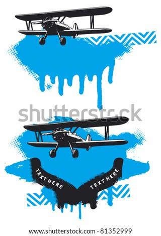 plane with grunge background