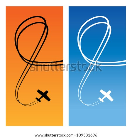 Plane with line of track over blue and orange background. Vertical card. Vector illustration.