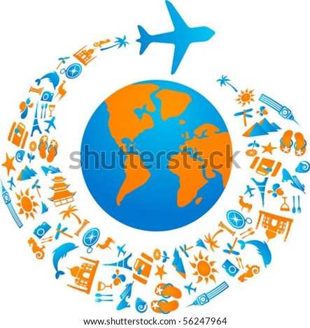 Plane with tourism icons trail flying around the world - stock vector