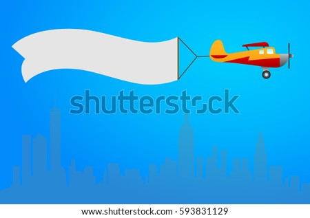 plane with white banner flying